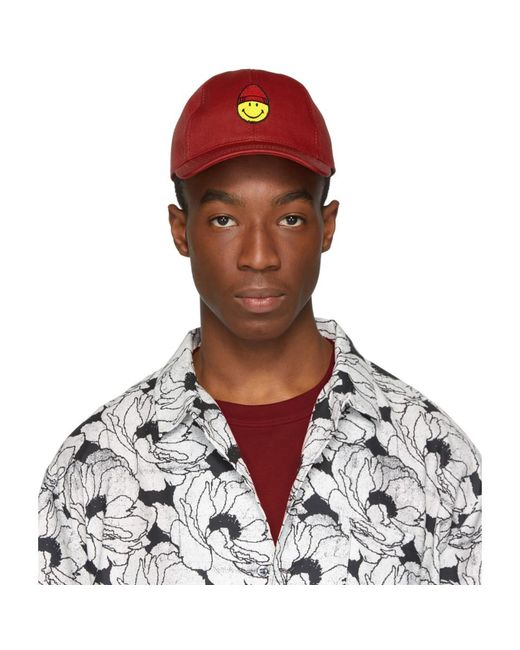 fb438fa025a Lyst - AMI Red Smiley Edition Patch Cap in Red for Men