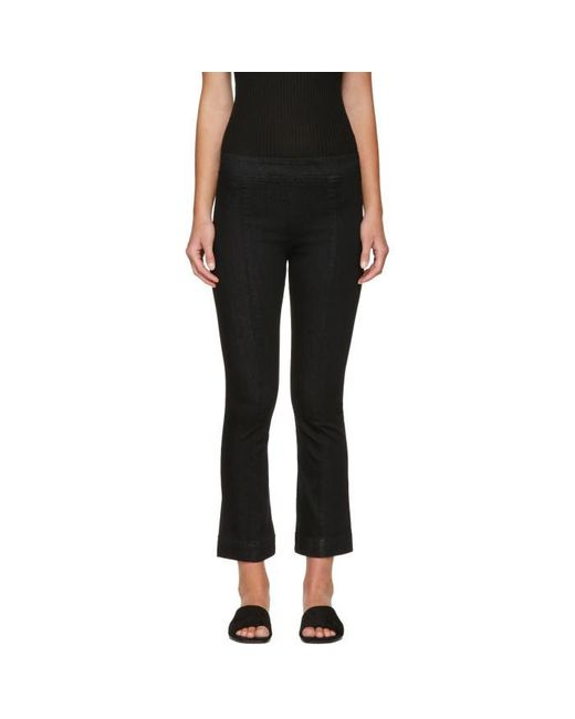 Helmut Lang | Black Pull-on Crop Flare Trousers | Lyst