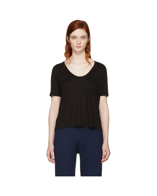 T By Alexander Wang - Black Classic Cropped Pocket T-shirt - Lyst
