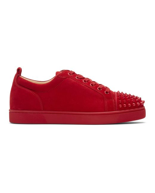 Christian Louboutin - Red Suede Louis Junior Spikes Sneakers for Men - Lyst
