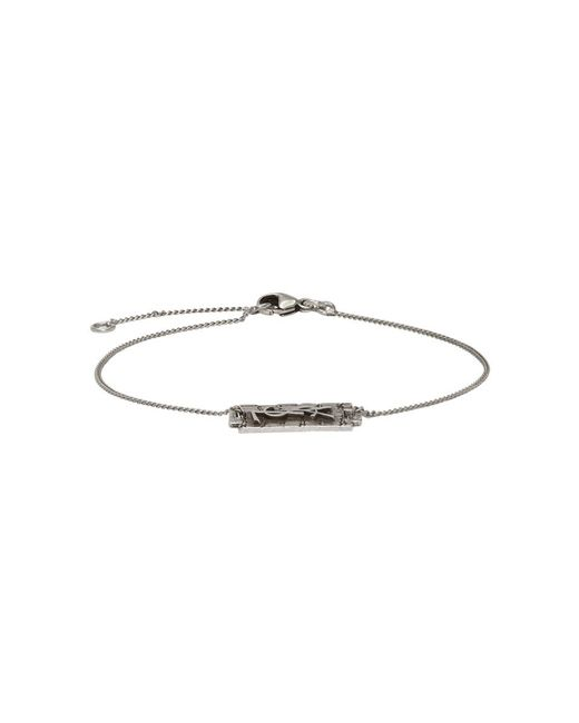 Saint Laurent - Metallic Silver Logo Bracelet for Men - Lyst