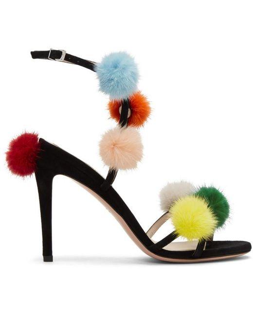 Fendi | Black Pom Pom Naked Sandals | Lyst