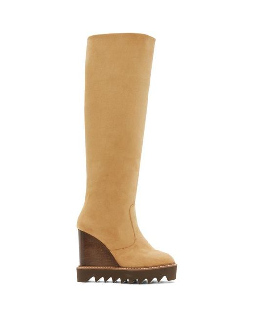 Stella McCartney | Brown Tan Knee-high Wedge Boots | Lyst