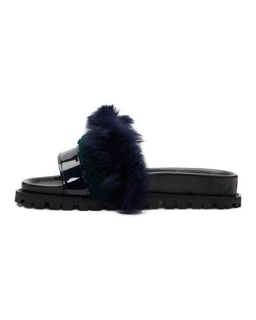 Sacai Navy & Green Furry Slides