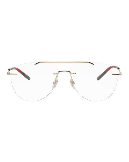 be918784da Gucci - Multicolor Gold Rimless Pilot Glasses - Lyst ...