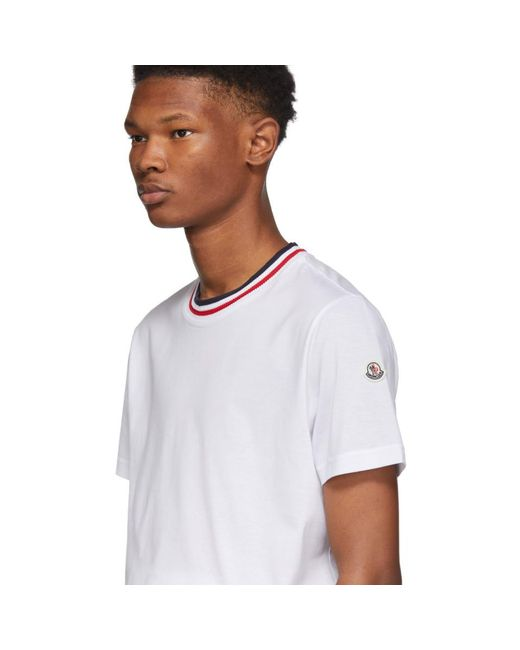 6a75ff26c Lyst - Moncler White Maglia Contrast Collar T-shirt in White for Men