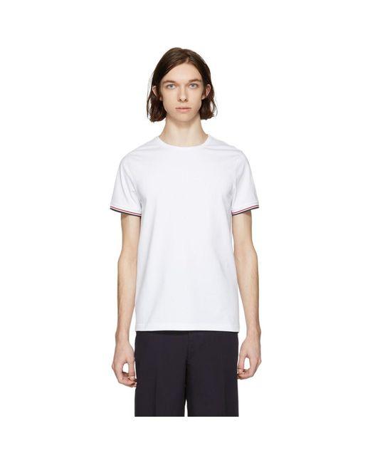 T-shirt blanc Flag Sleeves Moncler pour homme en coloris White
