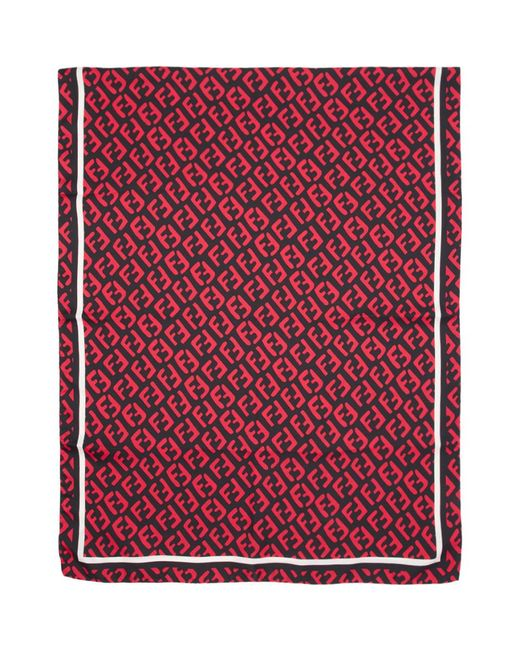 Fendi - Red Foulard en soie noir et rouge FF for Men - Lyst