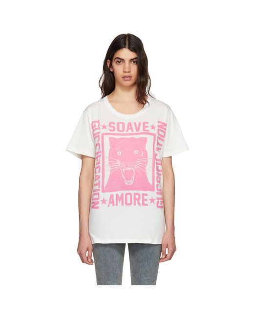 Gucci | Off-white Soave Amore Panther T-shirt | Lyst