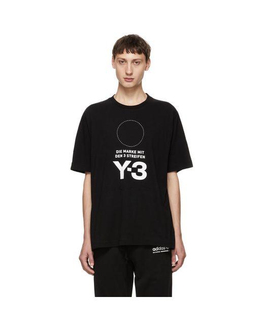 Y-3 - Black Stacked Logo T-shirt for Men - Lyst