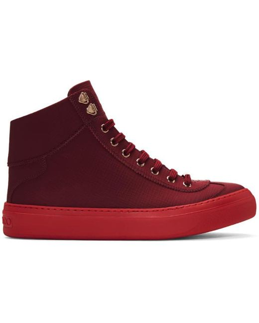 Jimmy Choo | Red Argyle High-top Sneakers for Men | Lyst