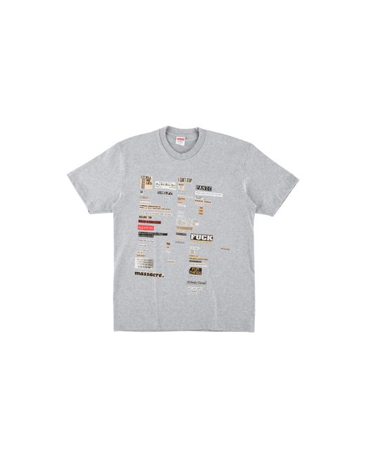 Supreme - Gray Cutouts Tee for Men - Lyst