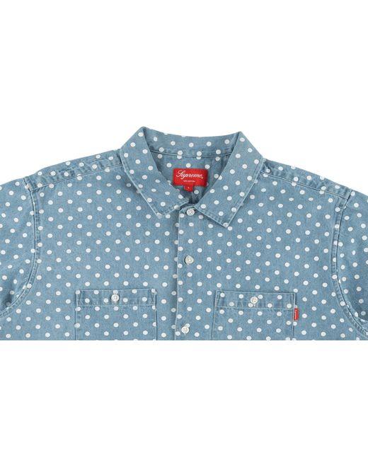 da1d7f7329 ... Supreme - Blue Polka Dot Denim Shirt for Men - Lyst ...