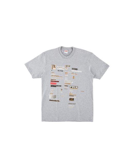 Supreme Gray Cutouts T-shirt 'fw 18' for men