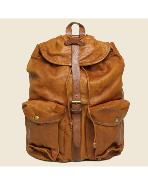 ed6cce7127 RRL - Brown Riley Leather Rucksack - Tan for Men - Lyst ...