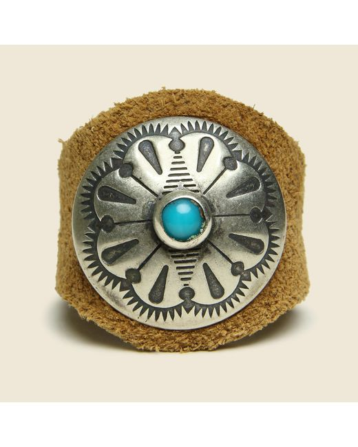 Chamula | Brown Concho Ring - Silver/leather for Men | Lyst
