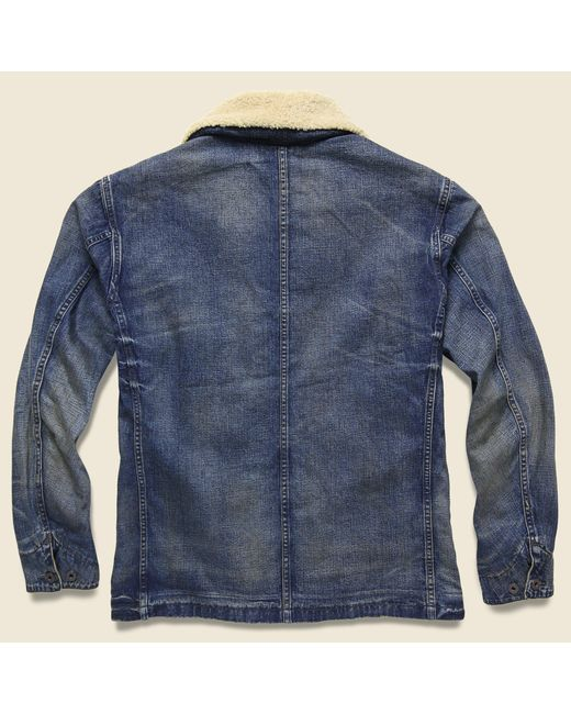 Lyst Rrl Shearling Collar Denim Jacket Bismarck Wash