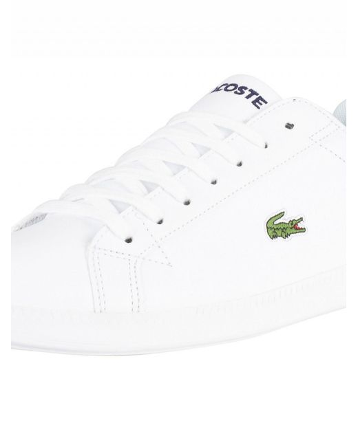aa7b6973a ... Lacoste - White white Graduate Bl 1 Leather Trainers for Men - Lyst ...