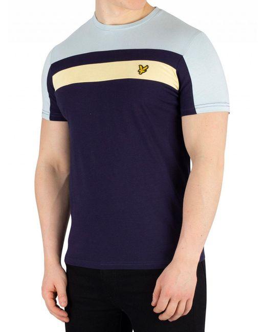 bdee8aa21 Lyle & Scott - Blue Navy Colour Block T-shirt for Men - Lyst ...