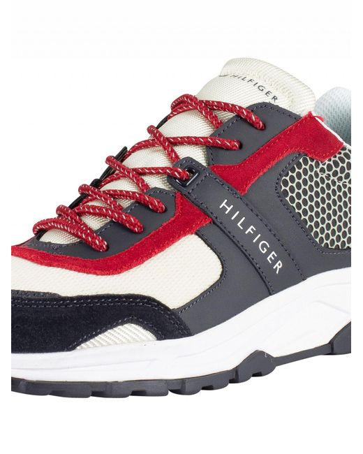 ddeae9bf ... Tommy Hilfiger - Black/beige Material Mix Lightweight Trainers for Men  - Lyst ...