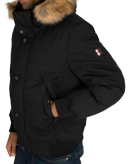 new release outlet store sale official site Tommy Hilfiger Fur Hampton Down Bomber Jacket in Black for Men - Lyst