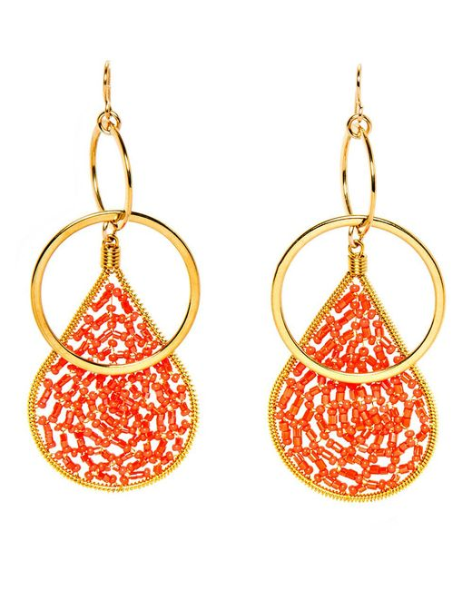 Devon Leigh | Multicolor Coral Crystal Beaded Double Hoop Earrings | Lyst