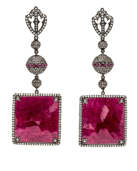 Loree Rodkin | Red Diamond And Square Ruby Drop Earrings | Lyst