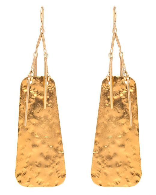 Devon Leigh | Metallic Hammered Gold Fringe Drop Earrings | Lyst