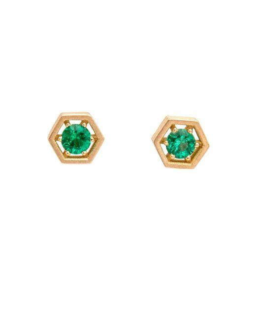Roule & Co. | Green Emerald Hexagon Stud Earrings | Lyst