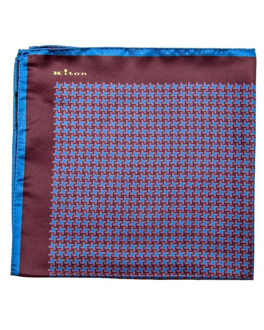 Kiton | Multicolor Cranberry And Blue Houndstooth Print Pocket Square for Men | Lyst