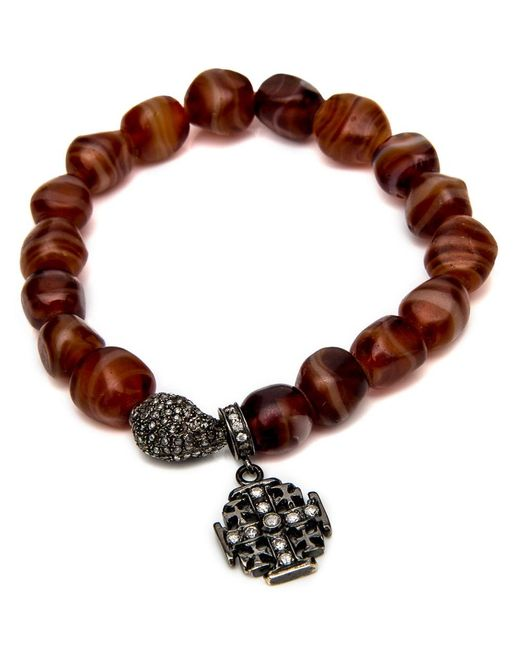 Loree Rodkin | Brown Carnelian Bead With Maltese Cross Bracelet | Lyst