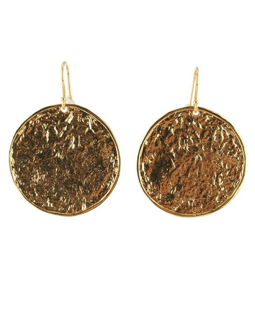 Nest | Metallic Textured Gold Disc Earrings | Lyst