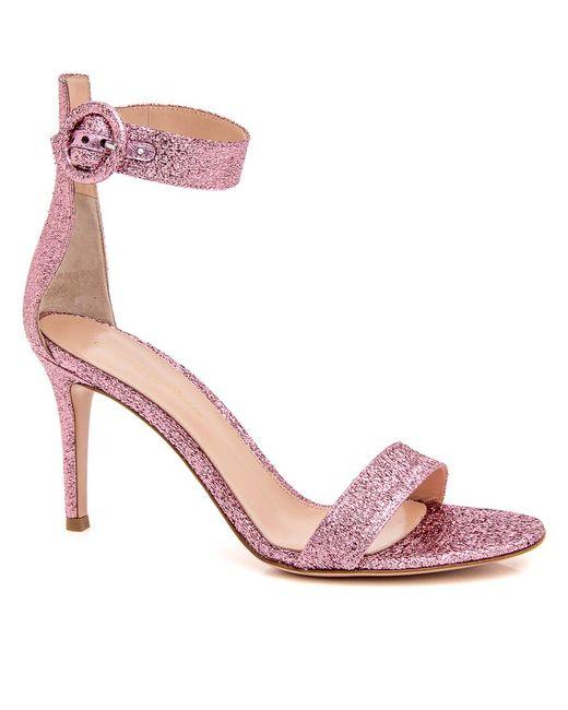 Gianvito Rossi   Pink Portofino Textured-lamé Sandals   Lyst