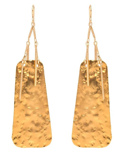 Devon Leigh | Metallic Hammered Gold Fringe Drop Earrings | Lyst