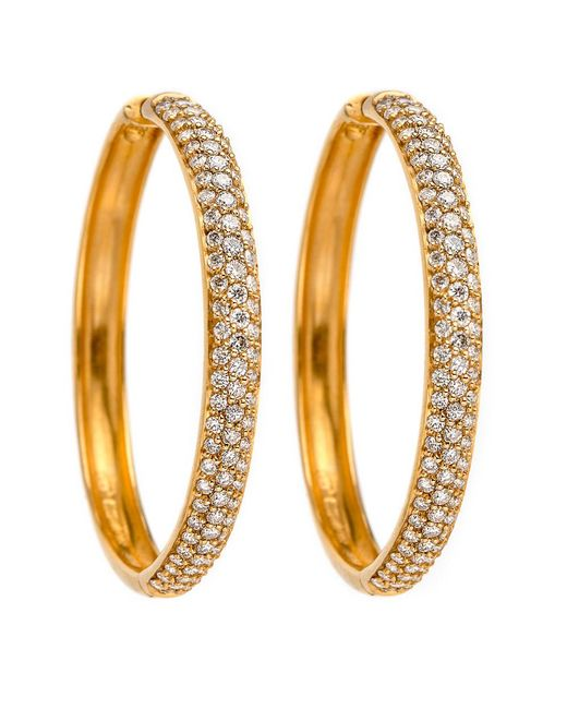 Darlene De Sedle - Metallic Gold Hoop Earrings With White Diamond Pave - Lyst