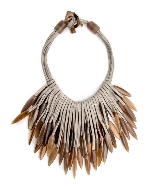 Nest | Multicolor Horn Tip Leather Necklace | Lyst