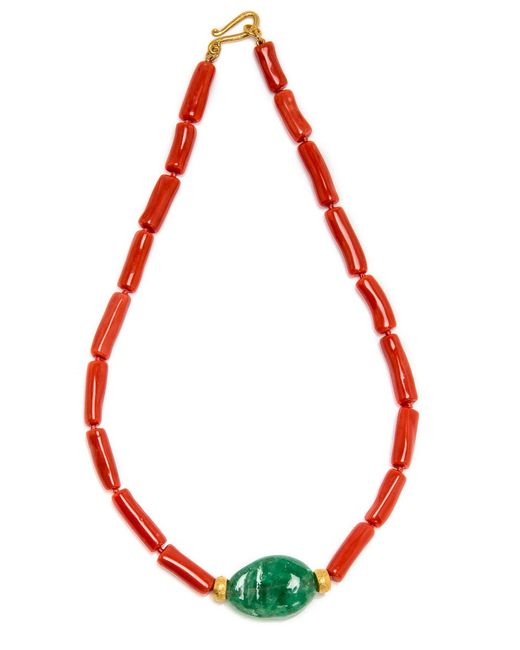 Darlene De Sedle | Red Coral Necklace With Emerald Stone Pendant | Lyst