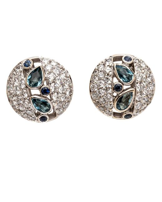 Ana Katarina | Multicolor Aquamarine And Diamond Earrings | Lyst