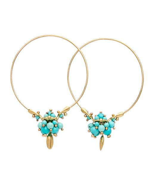 Ted Muehling - Blue Chinese Turquoise Cluster Hoop Earrings - Lyst