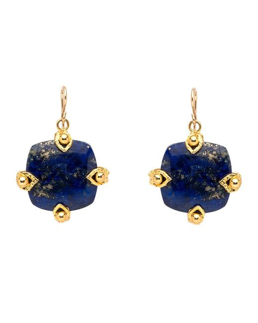 Devon Leigh | Blue Square Lapis Drop Earrings | Lyst