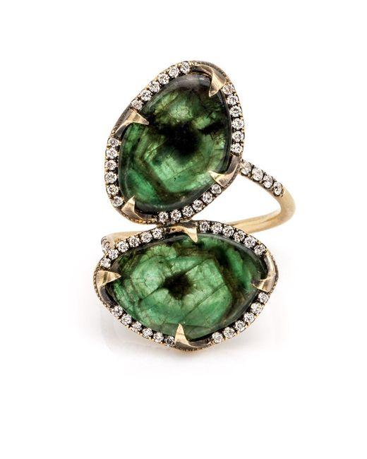 Sylva & Cie - Green Double Emerald Ring - Lyst
