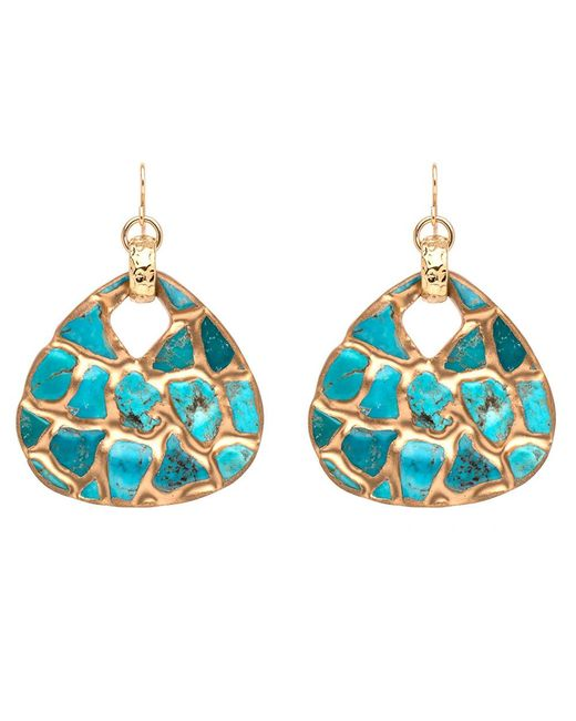 Devon Leigh | Blue Copper Infused Turquoise Mosaic Earrings | Lyst