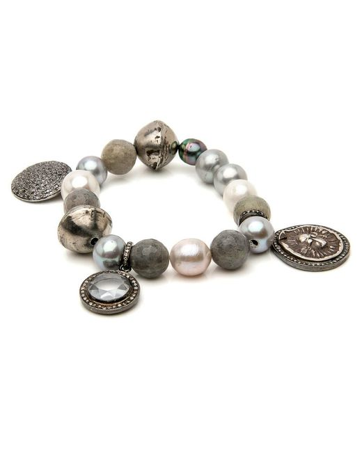 Hannah Ferguson - Gray Grey And White Pearl Bracelet - Lyst