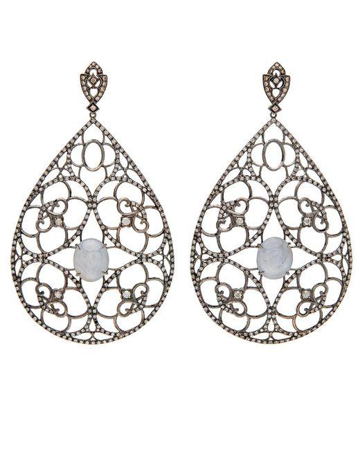 Loree Rodkin - Metallic Pear Shape Open Lace Earrings - Lyst
