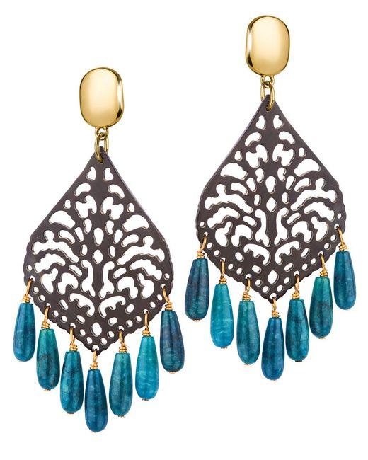 Nest - Blue Carved Horn Apatite Fringe Earrings - Lyst