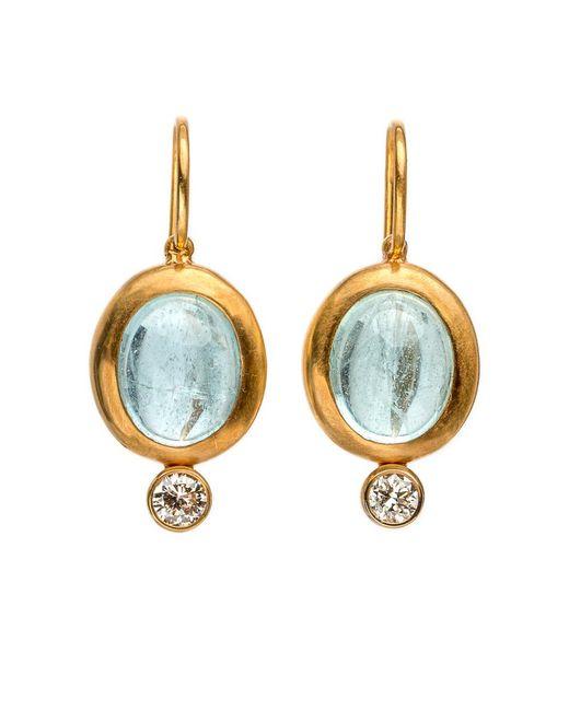 Darlene De Sedle - Blue Cabochon Aqua Earrings With Bezel Set Diamond - Lyst