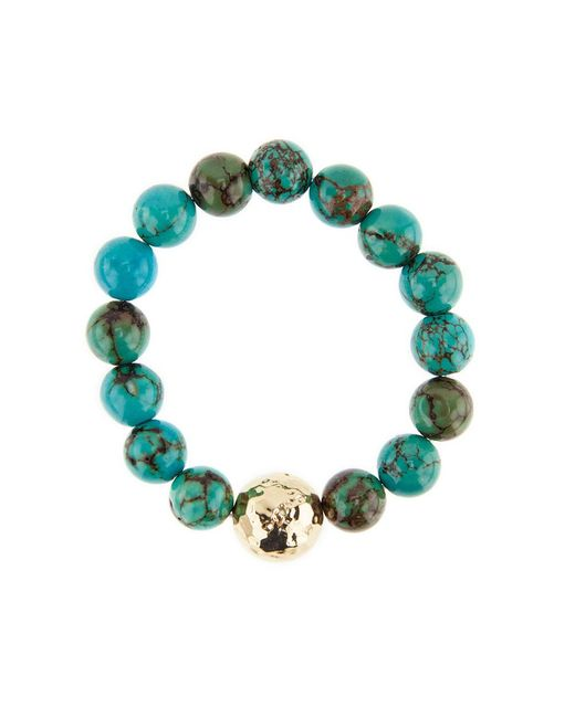Nest - Multicolor Jasper Turquoise And Gold Beaded Stretch Bracelet - Lyst