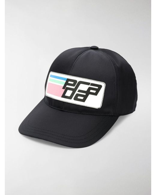 470c393d53a Lyst - Prada Nylon Logo Baseball Cap in Black - Save 40.0%