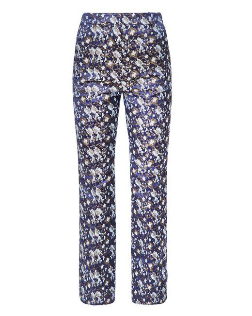 Erdem   Blue Eda Floral Silk Blend Cropped Trousers   Lyst