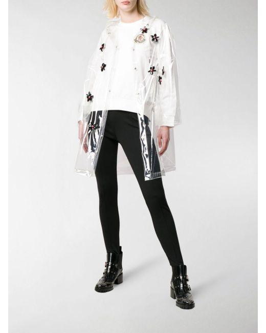 e793a82101 Moncler Genius Floral Appliqué Raincoat in White - Lyst